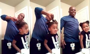 Πατέρας φτιάχνει το μαλλί της κόρης του και εκείνη δείτε τι του είπε (vid)