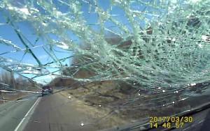 Οδηγούσε προσεκτικά όταν ξαφνικά είδε να σκάει στο παρμπρίζ του μια... (video)