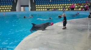 """Δελφίνι παίζει """"ποδόσφαιρο"""" μαζί με παιδάκι και τρελαίνει τους θεατές"""