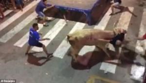 Ταύρος παραλίγο να σκοτώσει θεατή, αφού τον άφησε με πολλά τραύματα (video)