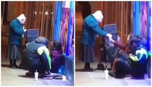 Ηλικιωμένη γυναίκα βγήκε στους δρόμους και μοίρασε ζεστή σούπα στους άστεγους μέσα στην παγωνιά (pics+vid)