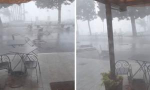 Τρομερή καταιγίδα παρασέρνει τραπέζια και καρέκλες εστιατορίου (video)
