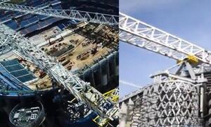 Εντυπωσιακές εικόνες από το νέο Μπερναμπέου: Τοποθετήθηκε κομμάτι 800 τόνων στην οροφή (video)